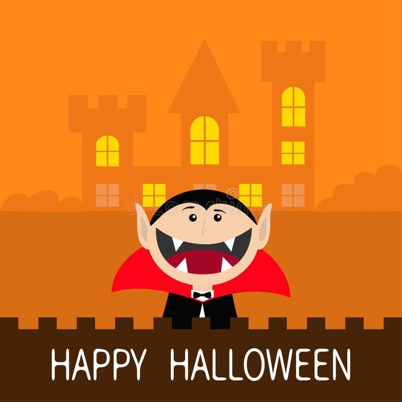 Halloween feliz Conte a cara principal de Dracula que veste o cabo preto e vermelho Caráter bonito do vampiro dos desenhos animad ilustração stock
