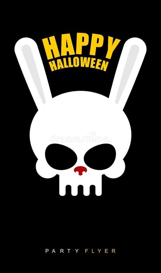 Halloween feliz Crânio do coelho no fundo preto Inseto do partido ilustração stock