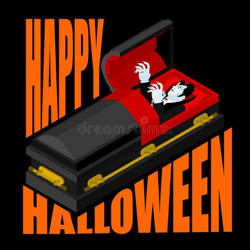 Halloween feliz Dracula no caixão aberto Ilustração para o terrib ilustração stock