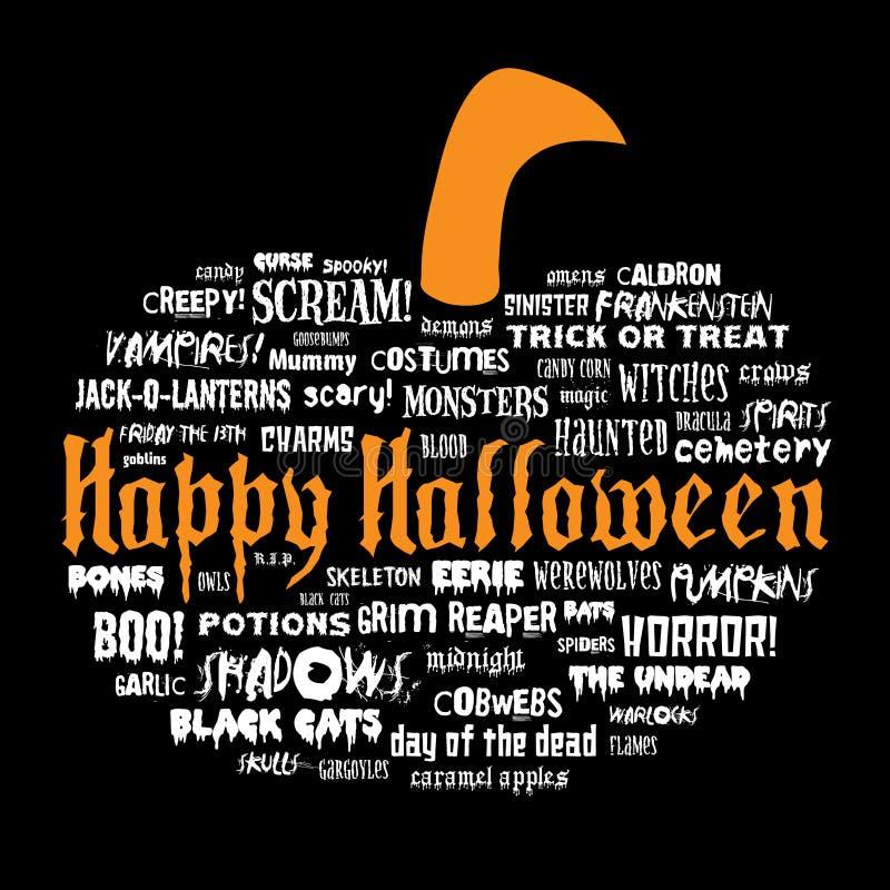 Halloween feliz e outras palavras assustadores ilustração royalty free
