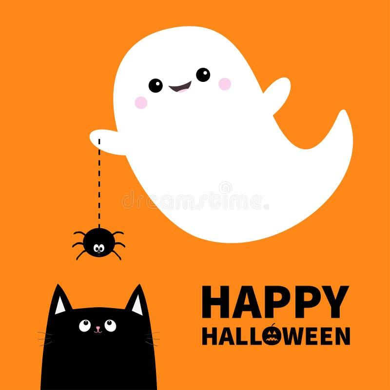 Halloween Feliz Espírito Do Fantasma Do Voo Que Guarda A Linha Vaia Do  Traço Da Aranha Da Web Gato Preto Fantasmas Brancos Assust Ilustração do  Vetor - Ilustração de traço, fantasma: 119013912