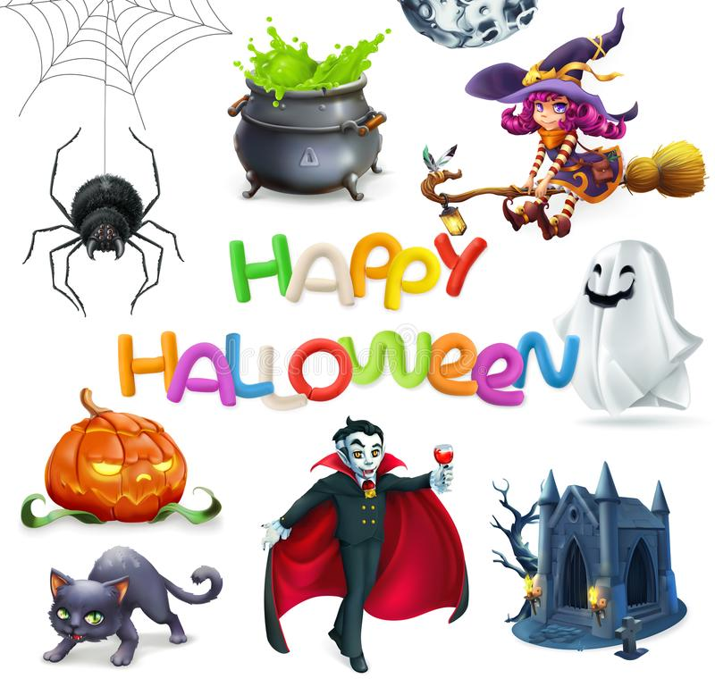 Halloween feliz grupo do ícone do vetor 3d ilustração do vetor