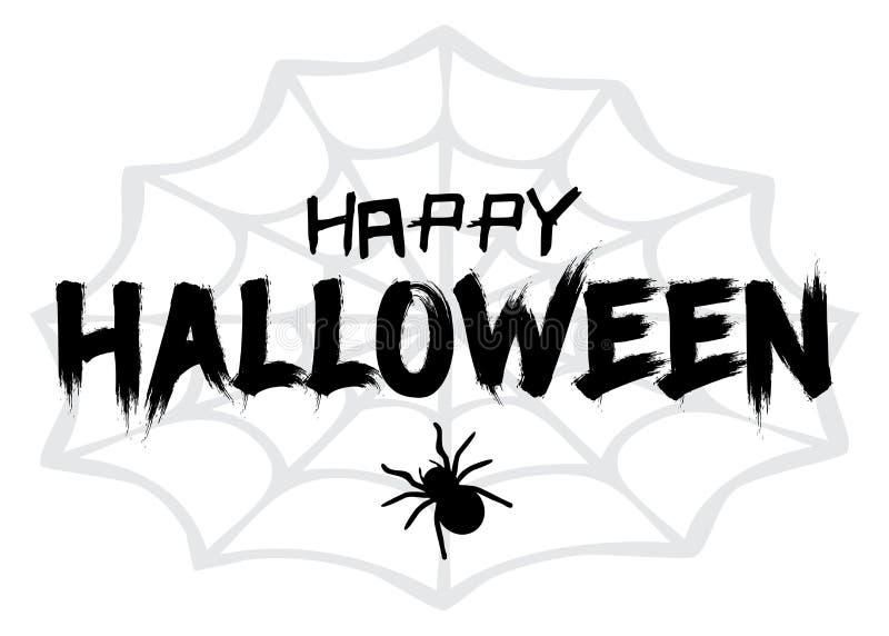 Halloween feliz Ilustração do vetor com Web e aranha Truque ou deleite ilustração royalty free