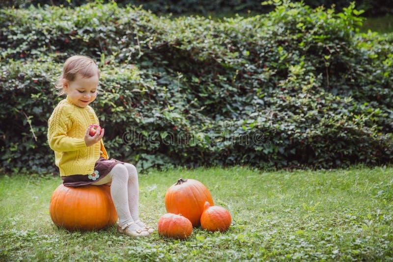 Halloween feliz A menina bonito está sentando-se em uma abóbora e está guardando-se uma maçã em sua mão fotos de stock