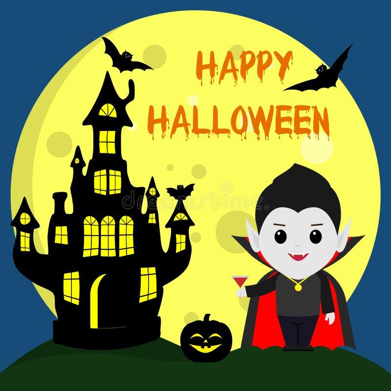 Halloween feliz O vampiro Dracula ao estilo dos desenhos animados está ao lado do castelo no fundo da lua em ilustração royalty free