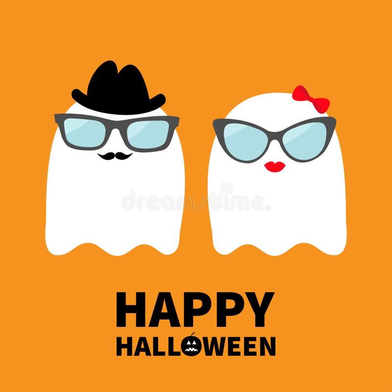 Halloween feliz Pares da família do espírito de Ghost com bordos, bigodes e monóculos, chapéu, curva Fantasmas brancos assustador ilustração do vetor