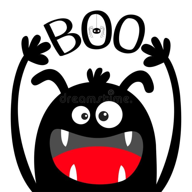 Halloween feliz Silhueta do preto da cabe?a do monstro Olhos, orelhas, colmilho dos dentes, língua, mãos acima Boo Text Aranha de ilustração stock