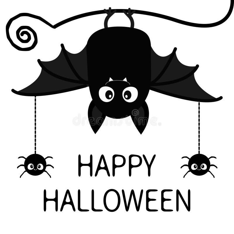 Halloween feliz Suspensão do inseto das aranhas do bastão Caráter bonito do bebê dos desenhos animados com a asa aberta grande, o ilustração do vetor
