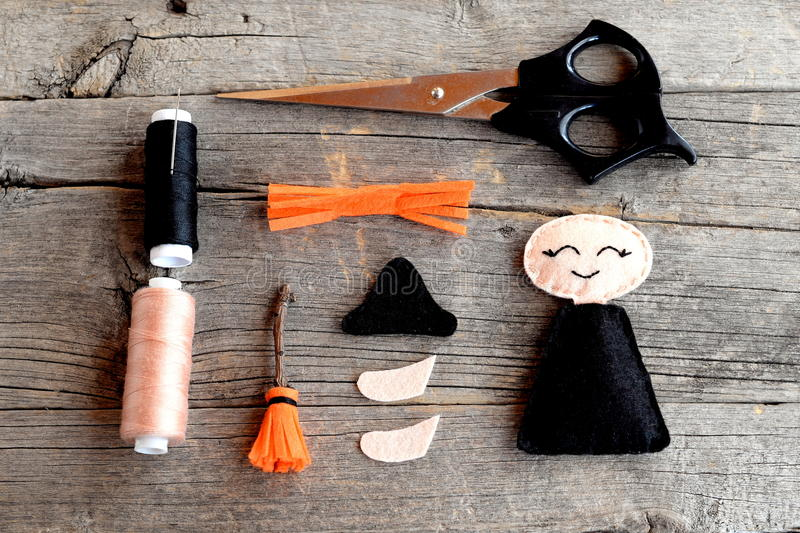 Download Halloween Felt Witch Details, Scissors, Thread, Needles On Wooden Background. Handmade Crafts. Step. Top View Stock Photo - Image of magic, costume: 75834626