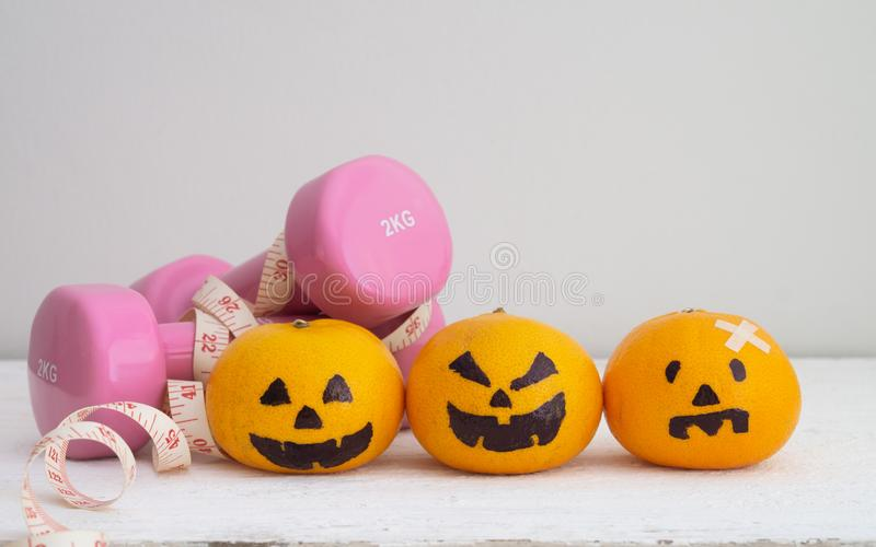 Halloween Festical with Fitness, Exercise, Working out, weight a royalty free stock photo