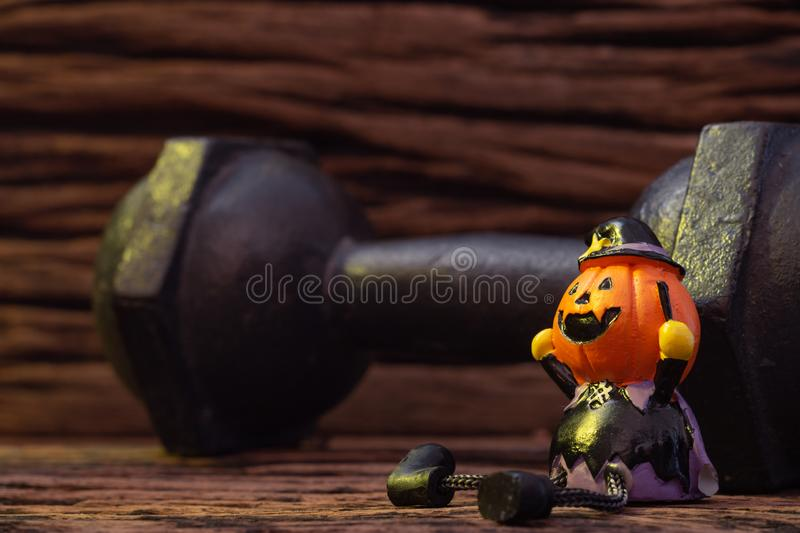Halloween festival Close up of Head Doll Pumpkins haunted spooky stock image