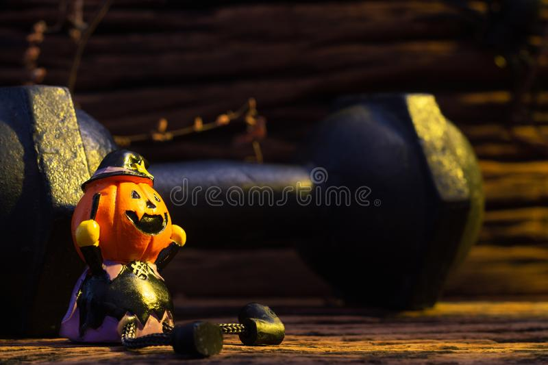 Halloween festival Close up of Head Doll Pumpkins haunted spooky royalty free stock photo