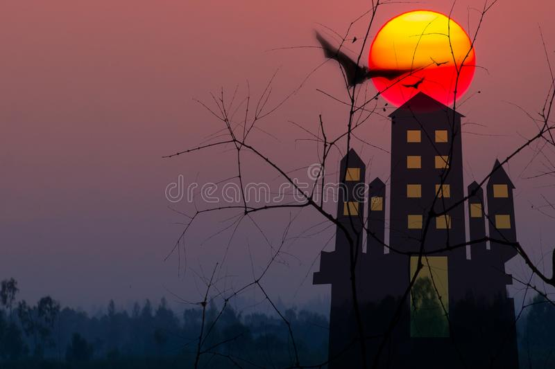 Halloween festival night background with haunted house and full moon with bats in dark night,illustration. Seasonal, fantasy, tower, church, forest, fly, devil royalty free stock image