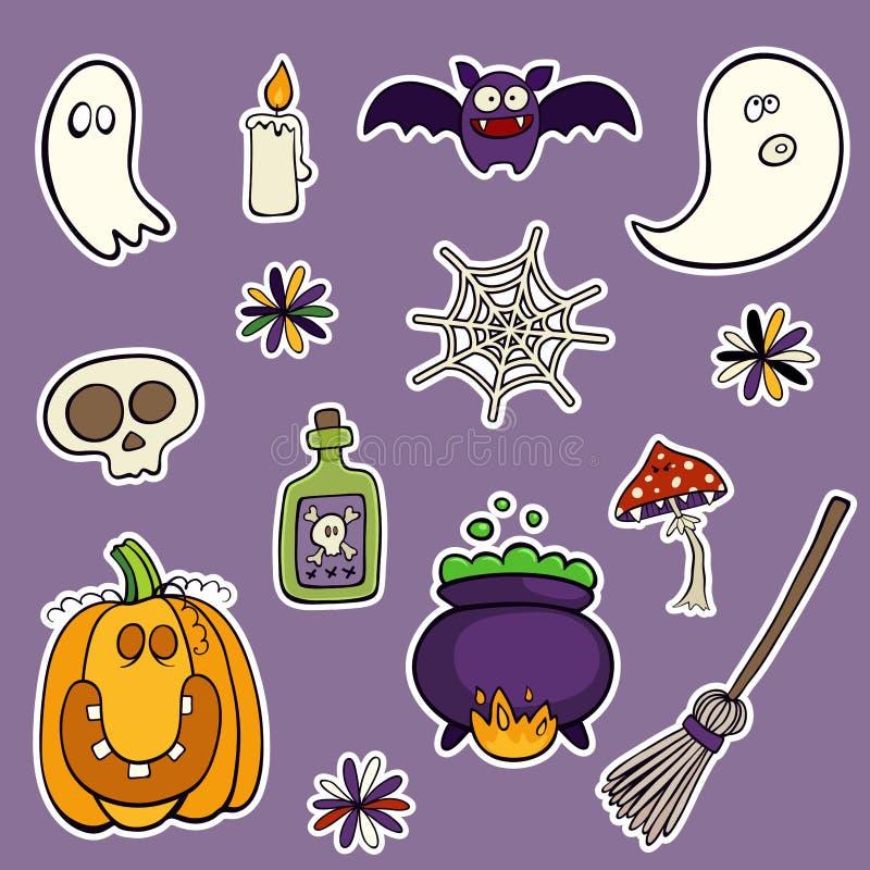 Halloween fijó de remiendos con la calabaza, el cráneo, la seta y otros elementos stock de ilustración
