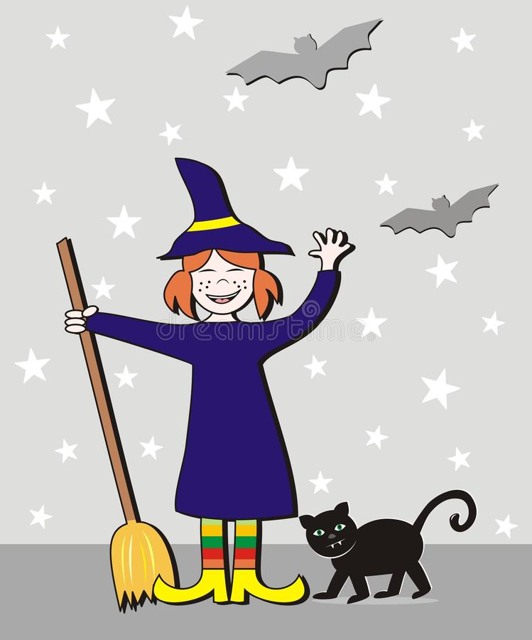 Halloween, fille et chat illustration stock