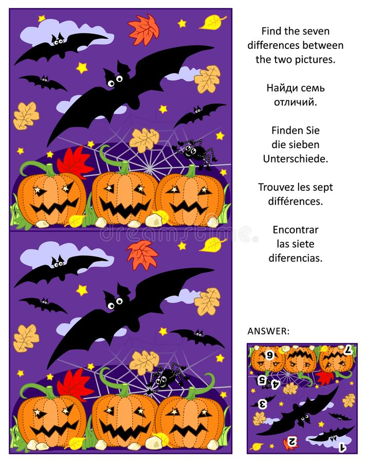Halloween find the differences picture puzzle with flying bats, pumpkin field, spider vector illustration