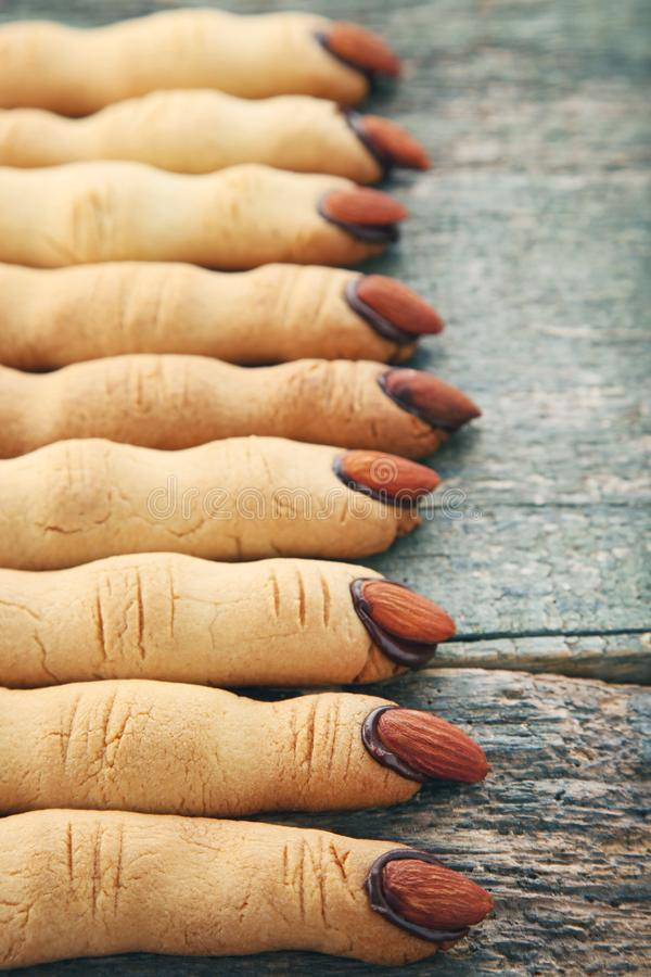 Halloween finger cookies royalty free stock photos