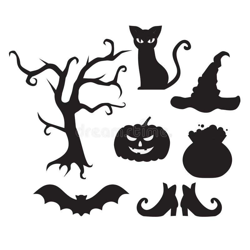 Halloween flat elements symbol. Scary cat, tree, hat, witch pot, broom, bat and shoes silhouette. Pumpkin jack lantern royalty free illustration