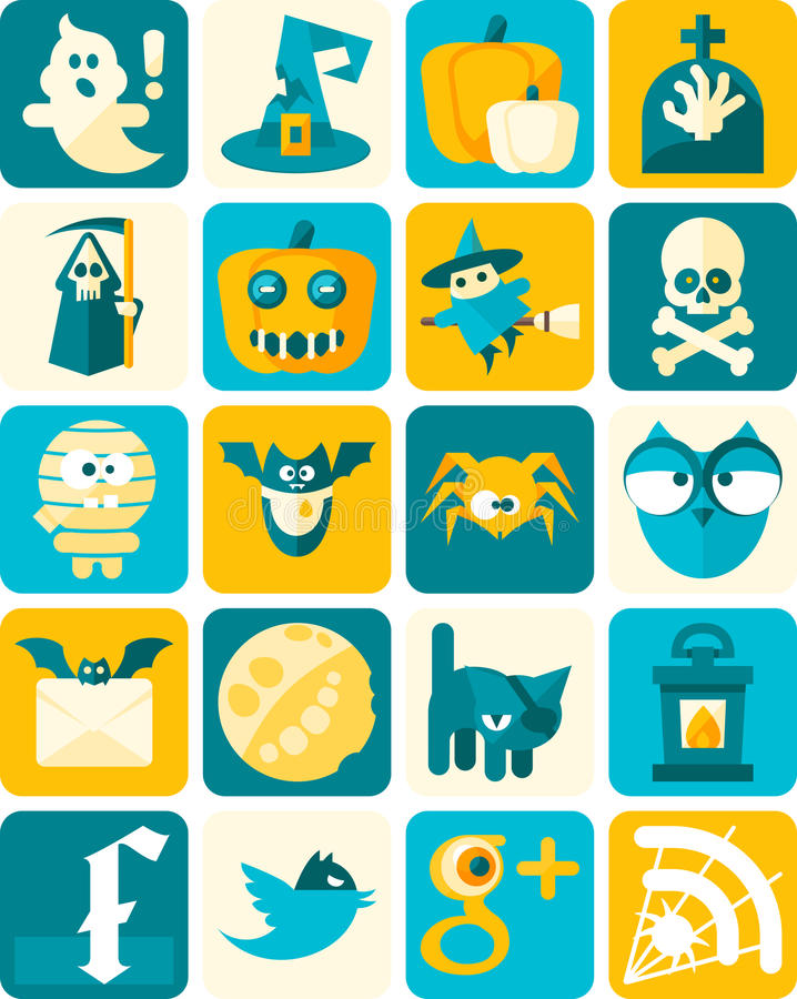 Halloween Flat Icons with Background. Halloween Flat Icons. Vector Illustrationm. Easily edited with good file structure vector illustration