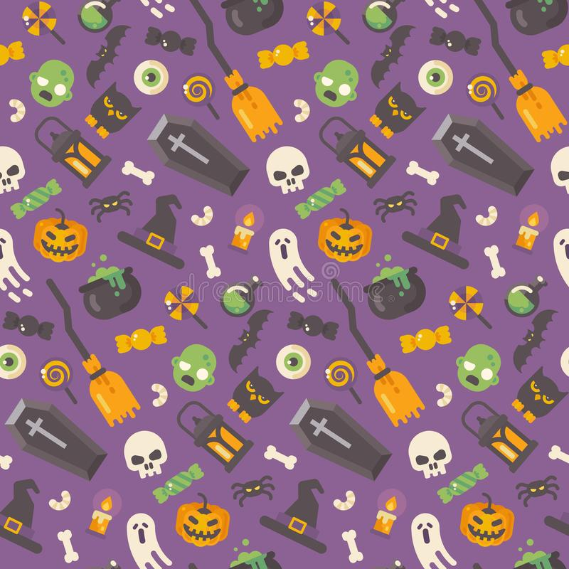 Halloween flat icons pattern on purple background vector illustration