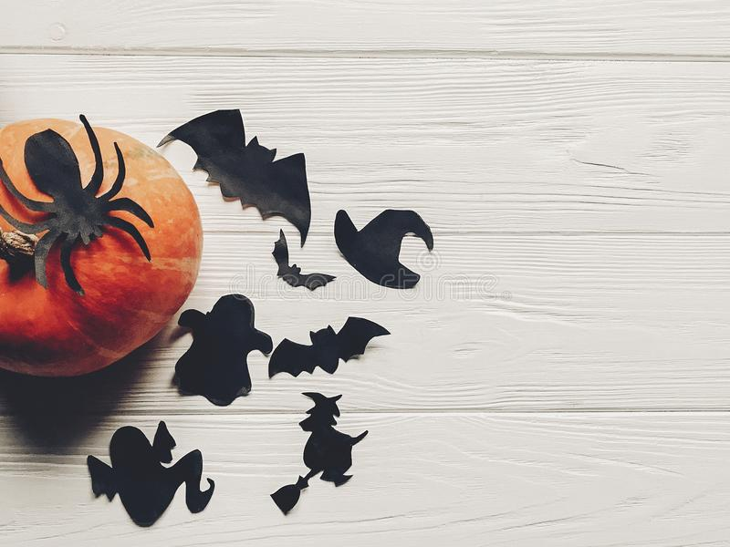 Halloween flat lay. happy halloween concept. pumpkin with witch stock image
