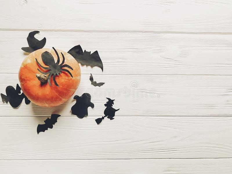 Halloween flat lay. happy halloween concept. pumpkin with witch royalty free stock photos
