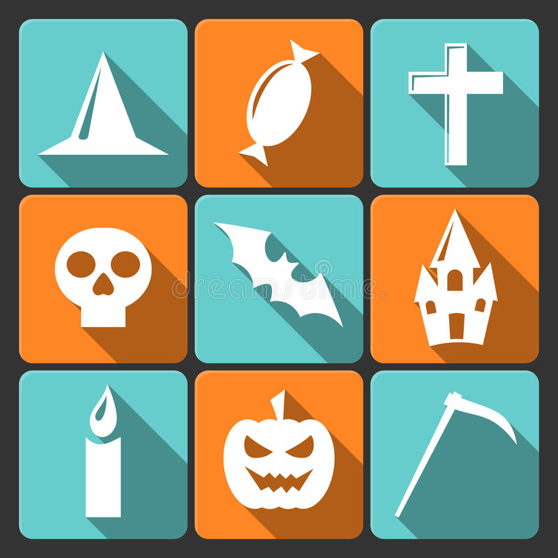 Download Halloween Flat Vector Icons With Long Shadow. Set Stock Vector - Image: 33646645