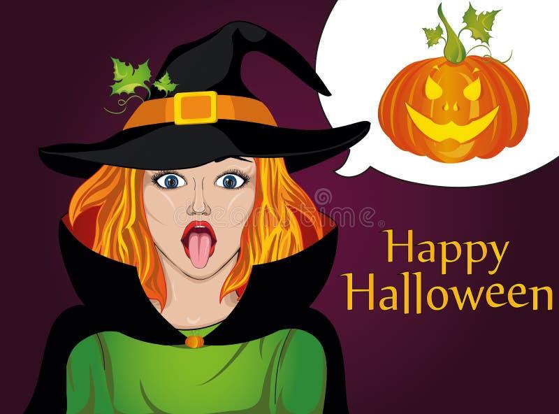 halloween Flickan i dräkten och hatt av häxan som ut klibbas stock illustrationer