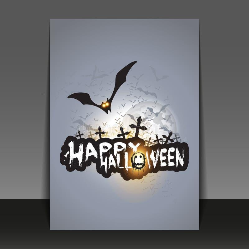 Halloween-Flieger-oder -abdeckungs-Design mit vielen Fliegen-Schlägern über dem Nachtfeld in der Dunkelheit unter dem sternenklar vektor abbildung