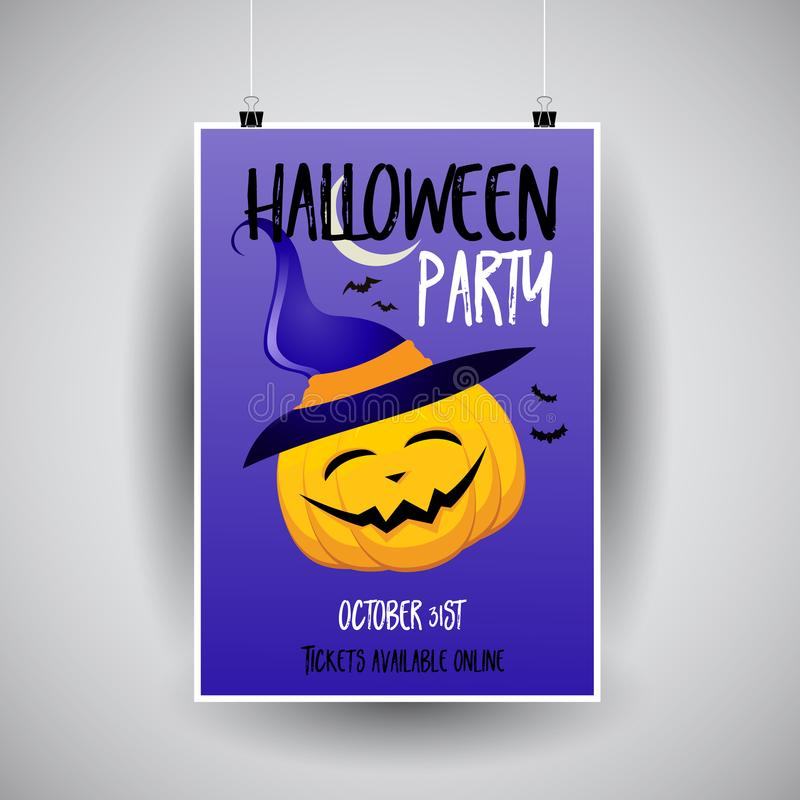 Halloween flier design. Halloween flier with cute pumpkin design stock illustration