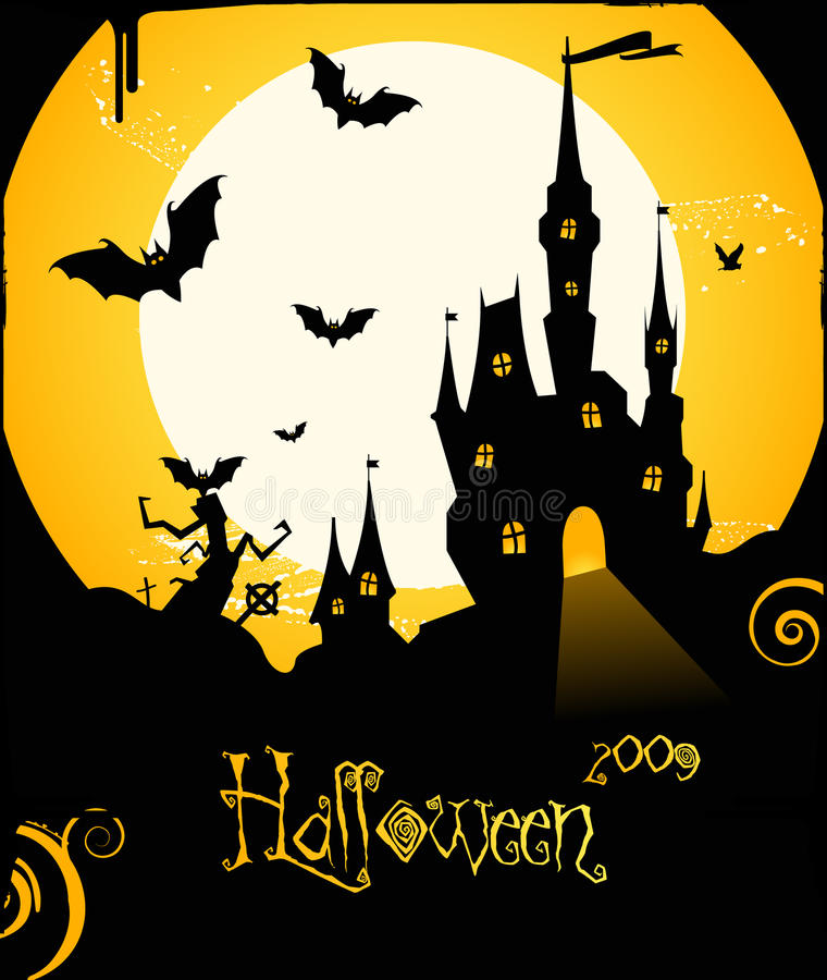 Download Halloween Flyer Background With Castle And Bats Stock Vector - Image: 11086777