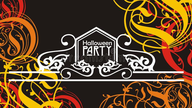 Halloween flyer or poster abstract ornamented background  illustration. Halloween flyer or poster abstract ornamented yellow and orange on black background stock images