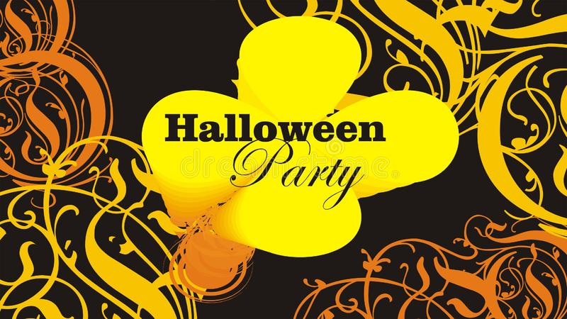 Halloween flyer or poster abstract ornamented background  illustration. Halloween flyer or poster abstract ornamented yellow and orange on black background stock photos