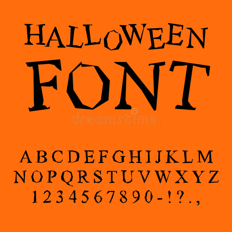 Halloween font. Curves of letters to terrible holiday. Broken al vector illustration