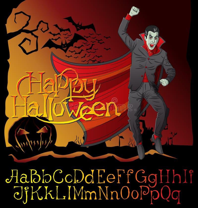 Halloween font set and Vector Vampire Dracula stock illustration