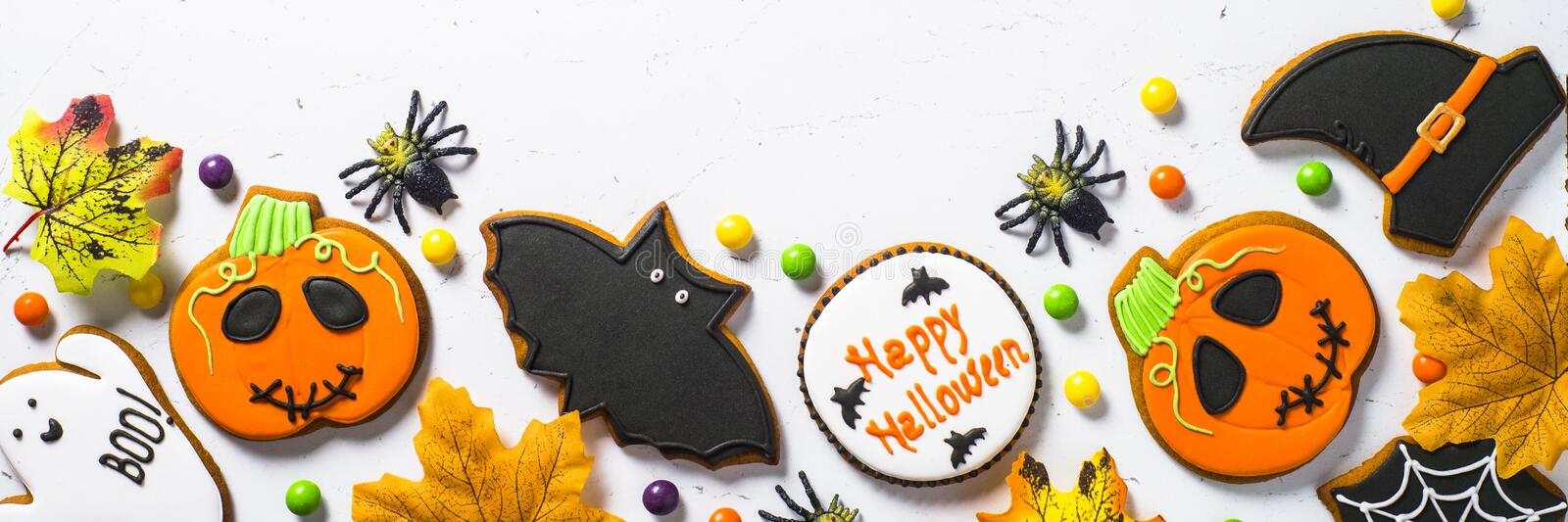Halloween food background. Long format. royalty free stock photography