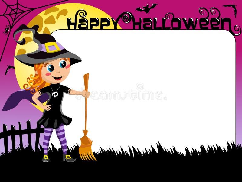 Halloween-FotoBilderrahmen-Grenzkinderhexenkostüm vektor abbildung