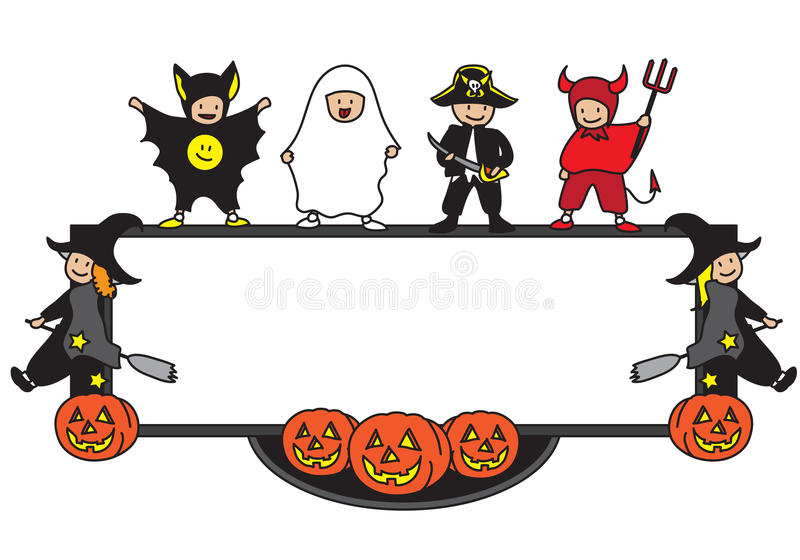 Halloween frame. Kids playing frame in Halloween fancy costume vector illustration with copy space on white background jack o' lantern