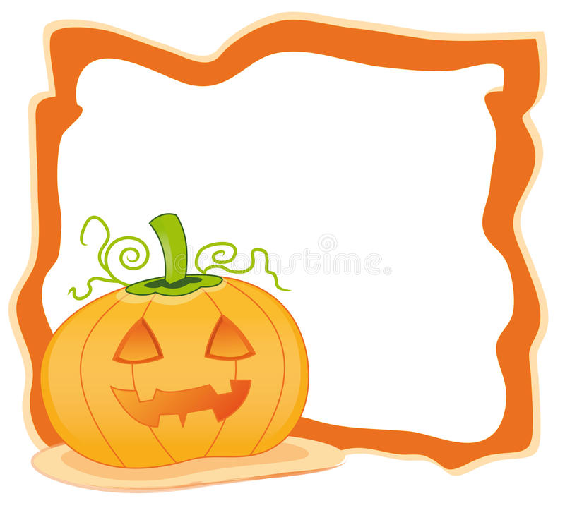 Halloween frame with pumpkin stock illustration