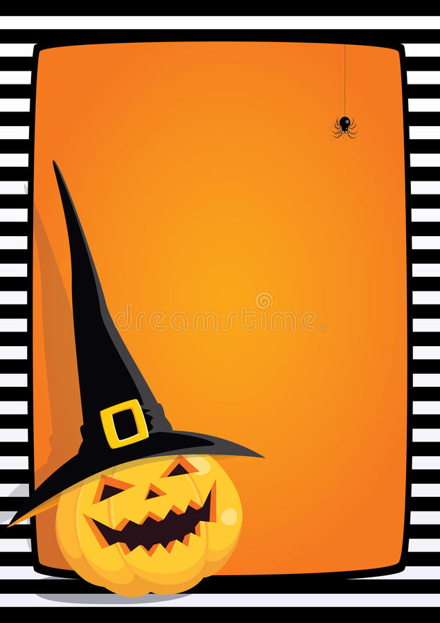 Halloween frame pumpkin and spider stock image