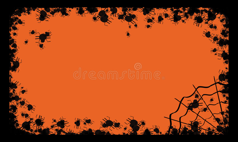 Halloween frame with spiders vector illustration