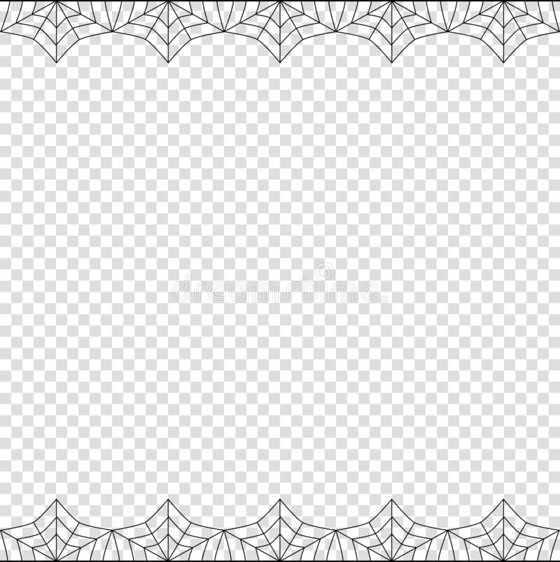 Halloween double spider web border on transparent background isolated. Halloween frame. Vector elegant double up and down square black spiderweb border with copy vector illustration