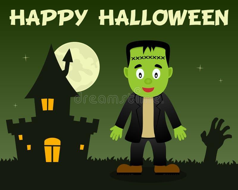 Halloween Frankenstein et Chambre hantée illustration libre de droits