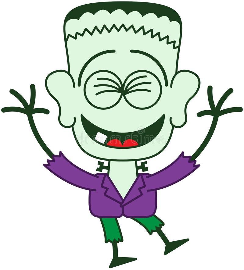 Halloween Frankenstein que ríe entusiasta ilustración del vector