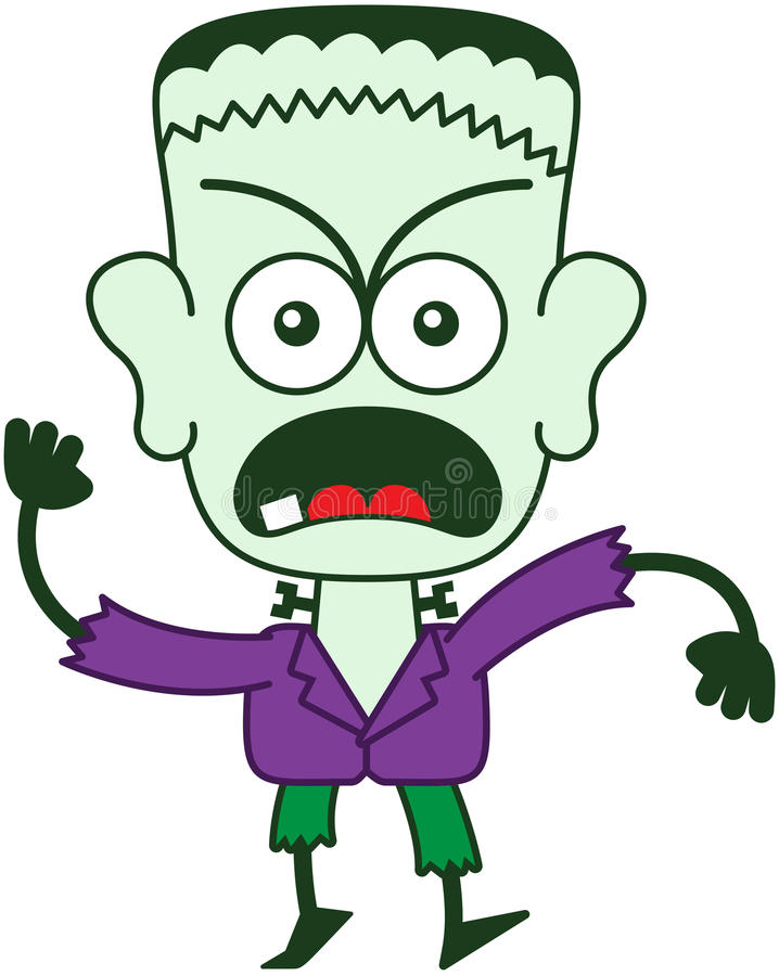 Halloween Frankenstein se sentant furieux illustration stock