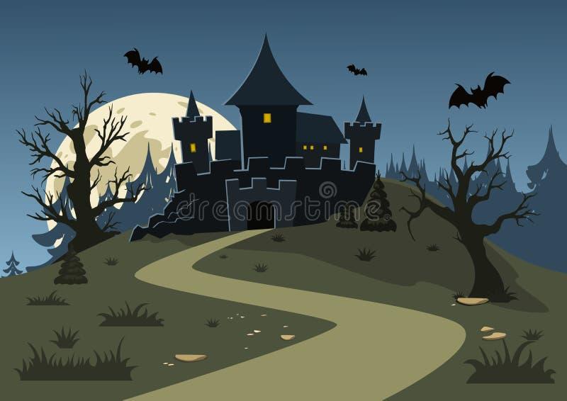 Halloween frecuentó el castillo, árboles, palos, y una Luna Llena stock de ilustración