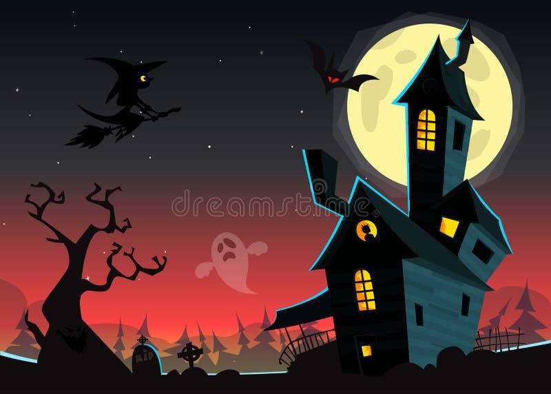 Halloween frecuentó el fondo de la noche del claro de luna con la casa fantasmagórica y el cementerio, puede ser uso como aviador ilustración del vector