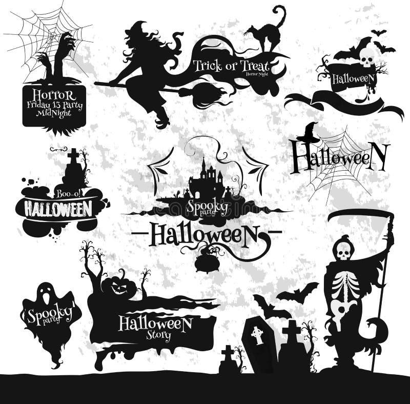 Halloween, Freitag, den 13.-Horror-Parteidekorationen eingestellt stock abbildung