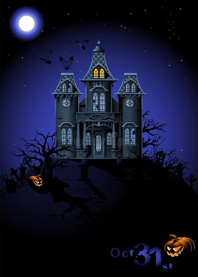 Halloween frequentierte Haus lizenzfreie abbildung