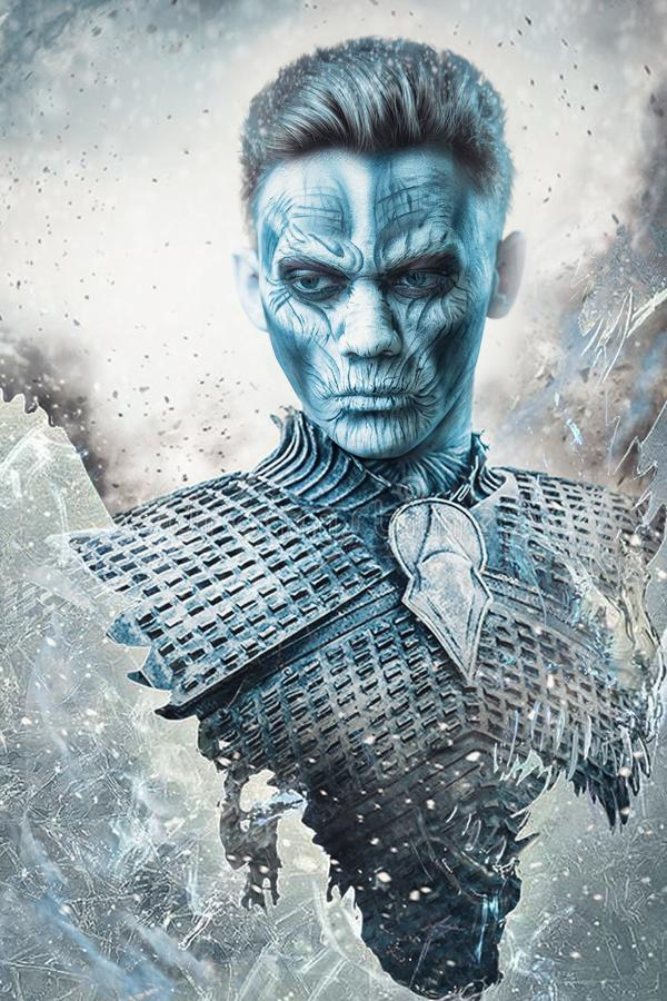 Halloween. Frozen snow covered zombie warrior in the armor of a medieval knight. White walker. Fantasy concept royalty free stock photos